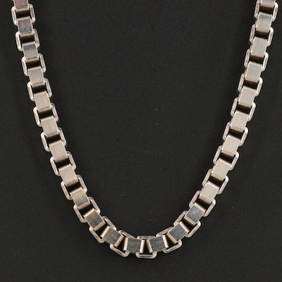Sterling Silver Opera Length Box Chain Necklace