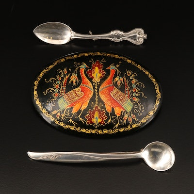 """Sterling Gorham """"Sea Rose"""" Spoon and Spoon Pin with Wooden Enameled Brooch"""