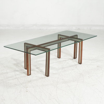 Mid Century Modern Glass-Top Rosewood and Metal Coffee Table