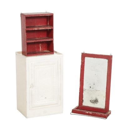 Painted Metal Wall Cupboard, Accent Mirror, and Wooden Shelf