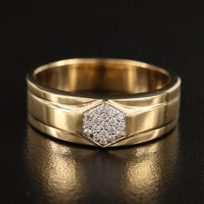 Sterling White Zircon Hexagonal Ring