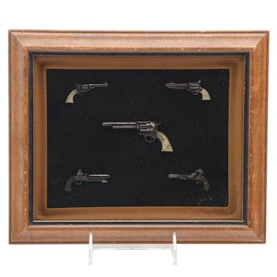Turner Mfg. Co. Framed Miniature Pistols Display, Mid-20th Century