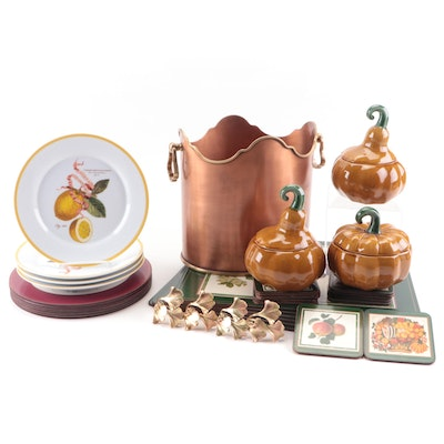 """Global Views """"Crown"""" Metal Two Bottle Holder and Fruit Themed Tableware"""