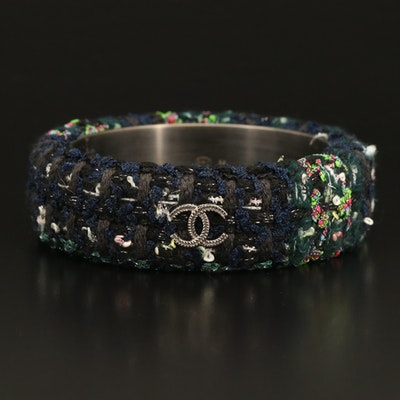 2013 Autumn Chanel Navy Blue and Green Tweed CC Bangle, Size M