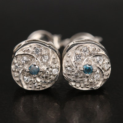 Sterling Diamond and Zircon Stud Earrings