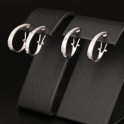 14K 1.10 CTW and 1.08 CTW Diamond J Hoop Earrings