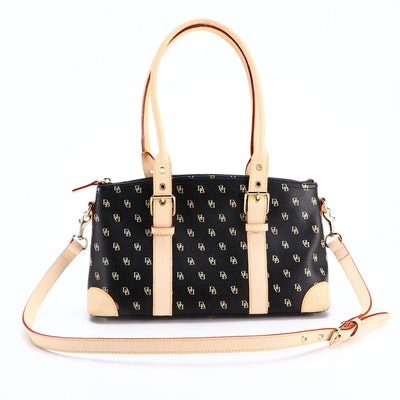 Dooney & Bourke Domed Satchel Bag in Monogram Coated Canvas and Leather