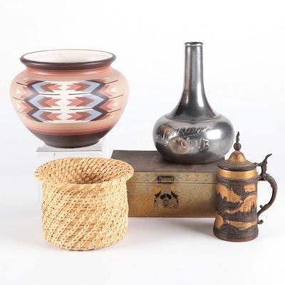 Table Decor Including Pueblo Ceramic Planter, Handwoven Basket and More