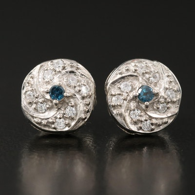 Sterling Silver Diamond and White Zircon Cluster Stud Earrings