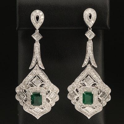 14K 3.16 CTW Emerald and 4.85 CTW Diamond Pendulum Earrings