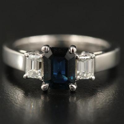 Platinum 1.50 CT Sapphire and Diamond Three Stone Ring