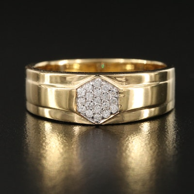 Sterling Silver White Zircon Cluster Band