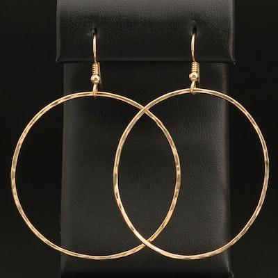 14K Drop Hoop Earrings