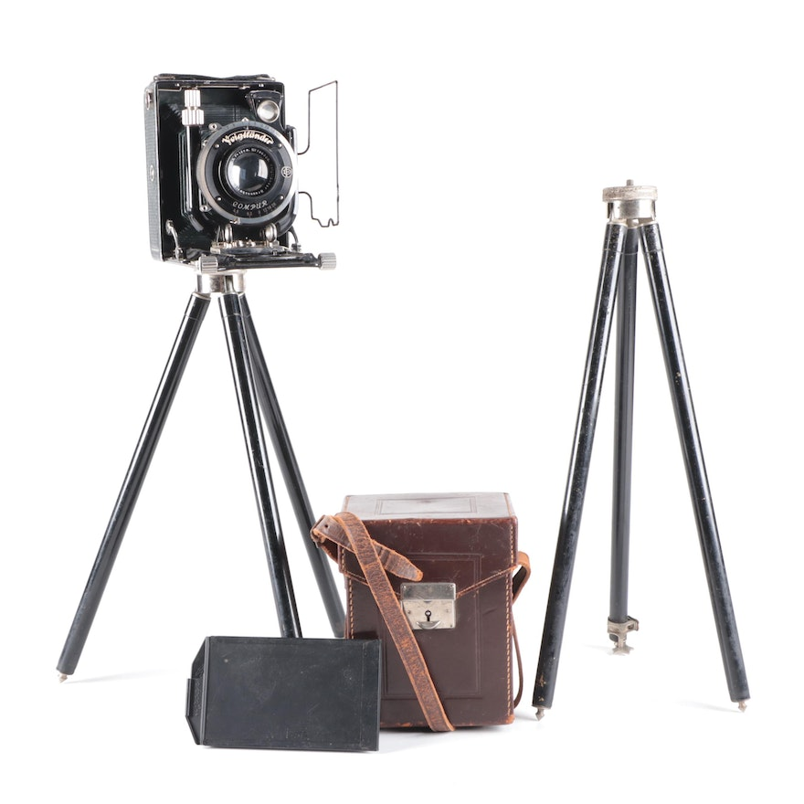 Voigtländer Compur Large Format Folding Camera with Case and Tripods