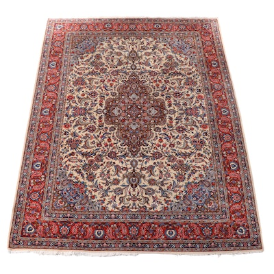 9'11 x 12'10 Hand-Knotted Persian Kashan Room Sized Rug