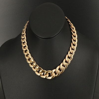 14K Italian Gold Graduated Curb Chain Necklace