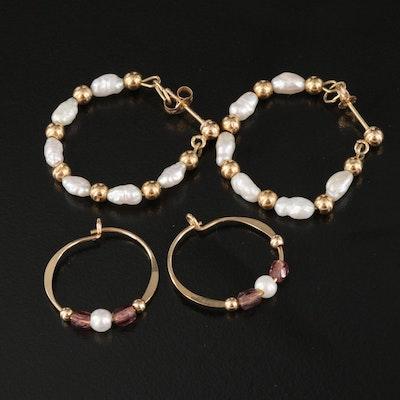 14K Pearl and Imitation Pearl Hoop Earrings