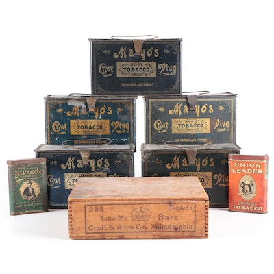 Mayo's, Tuxedo and Other Tobacco Tins and Candy Box, Early 20th Century