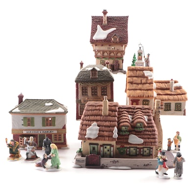 """Department 56 """"Dickens' Village"""" Porcelain Buildings and Figurines"""
