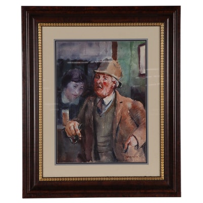 Reginald Leslie Grooms Watercolor Painting of Man with a Pipe, 1973