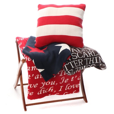 Punctuate Cotton Throws and Pillow with Folding Luggage Rack