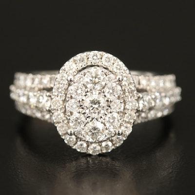 14K 1.46 CTW Diamond Cluster Ring