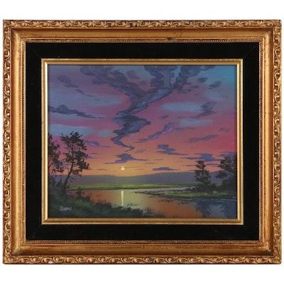 "Douglas ""Bumo"" Johnpeer Landscape Oil Painting ""Last Light,"" 2021"