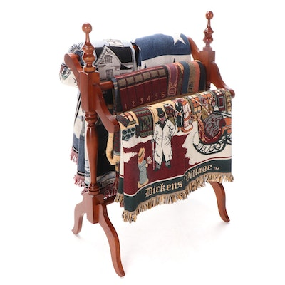 """Goodwin Weavers """"Dickens' Village"""" and Other Cotton Throws and Quilt Rack"""