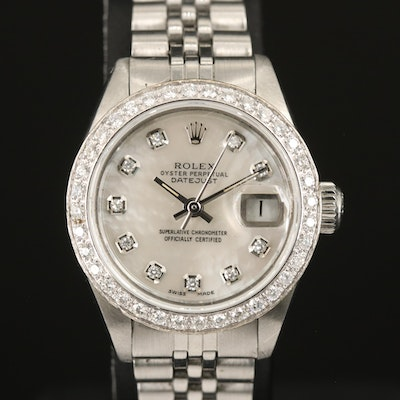 1978 Rolex Datejust Diamond Dial and Bezel Stainless Steel and 14K Wristwatch