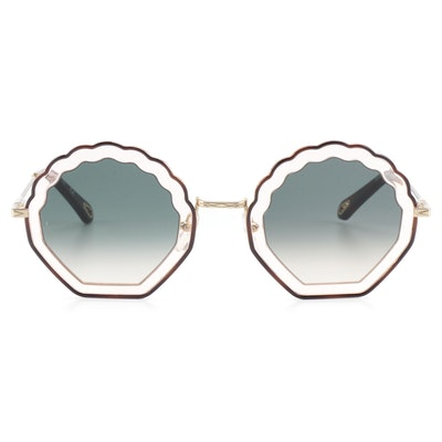 Chloé CE147S Gold Tone Geometric Sunglasses with Case