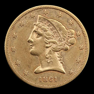 1861 Liberty Head $5 Gold Coin
