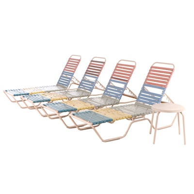 Four Patio Pool Lounge Chairs and End Table, Vintage