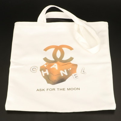 """Chanel """"Ask For The Moon"""" Promotional Tote with Box and Makeup Brushes"""