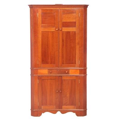 American Hepplewhite Style Cherry Corner Cabinet