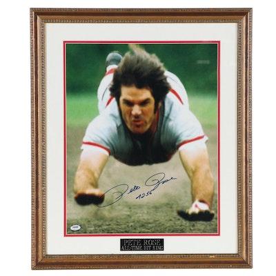 "Pete Rose ""All Time Hit King"" Signed Framed Head First Slide Photo Print, COA"