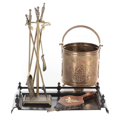Innes Cast Iron Fender, Moroccan Brass Kindling Bucket and Other Fireplace Tools