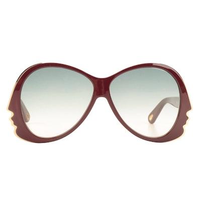 Chloé CE763S Bordeaux Teardrop Sunglasses with Case