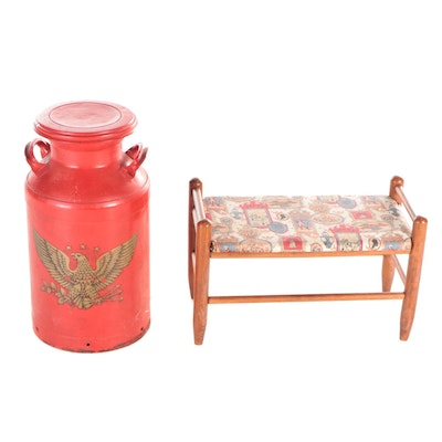 Cudahy Golden Eagle Milk Can with Upholstered Stool, Mid-Late 20th Century