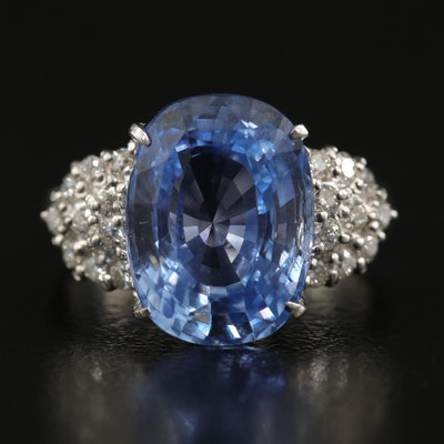 Platinum Unheated Sri Lankan Sapphire and Diamond Ring with GIA Report