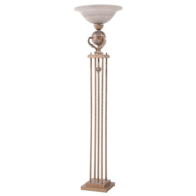 Neoclassical Style Metal Torchiere Floor Lamp, Late 20th Century