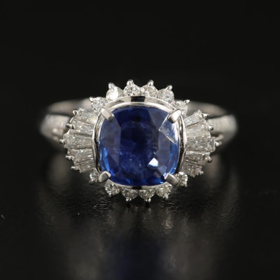 Platinum 3.02 CT Unheated Sapphire and Diamond Ring with GIA Report