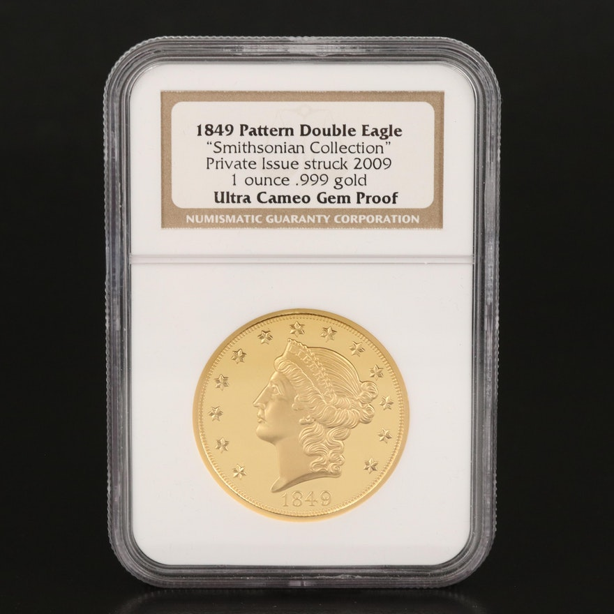 """2009 Private Issue """"1849 Pattern Double Eagle"""" Smithsonian Collection Gold Coin"""