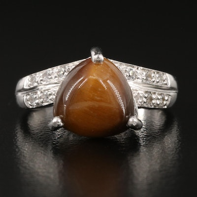 Sterling Silver Tiger's Eye and White Topaz Ring