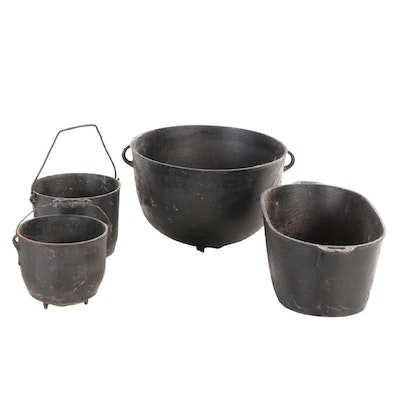 Cast Iron Footed Cauldron, Stew Pots and Oval Roaster, 20th Century