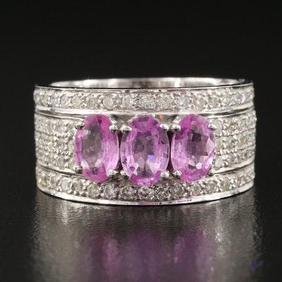 14K Pink Sapphire and Diamond Ring