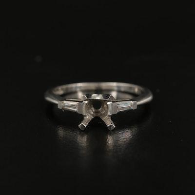 Platinum 0.07 CTW Diamond Semi-Mount Ring