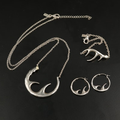 Elizabeth and James Sterling Silver Antler Jewelry Set