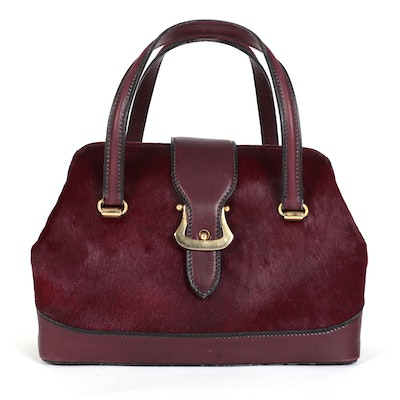 Koret Burgundy Calf Hair and Leather Carry-On Bag with Matching Coin Purse
