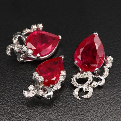 10K Ruby and Diamond Earring and Pendant Set