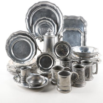 """Wilton Armetale """"Queen Anne"""" Dinnerware and Other Pewter Tankards"""